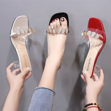 Transparent Spike Heels Slippers for Women Shoes Woman Mules 2020 Summer New Crystal Clear Sexy Ladies Shoes Slides Casual Shoes