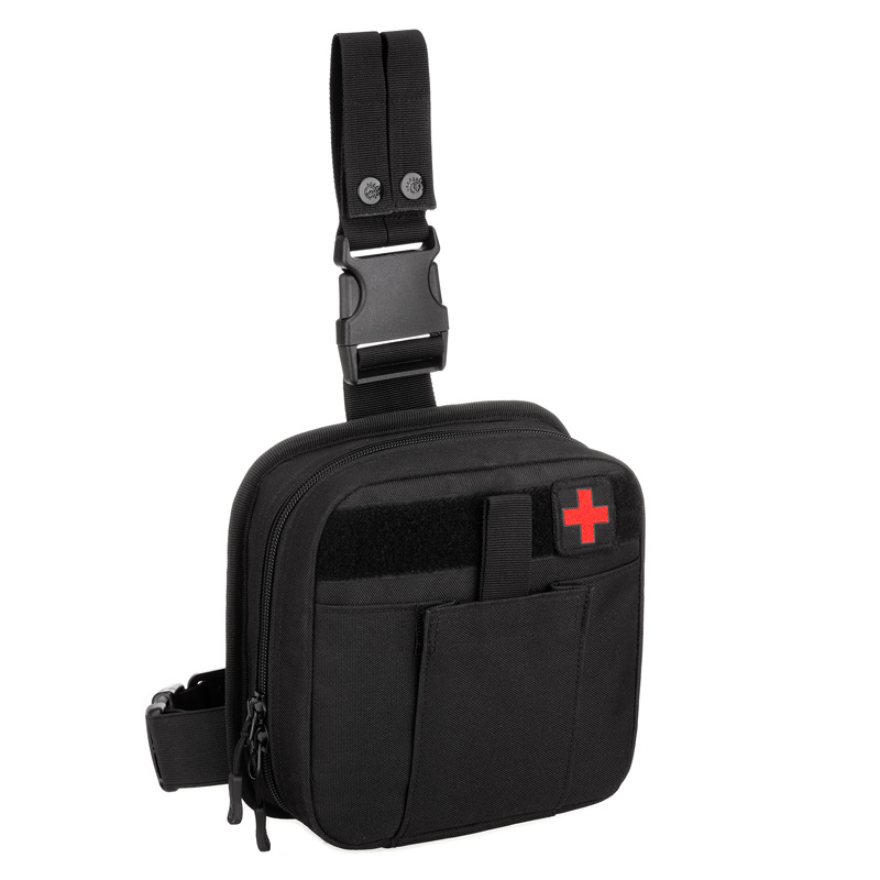 Durable Nylon Black Belt Pack Hip Bum Accessory First Aid Waist Molle Sundries Military Tactics Fanny Leg Bag For Climbing