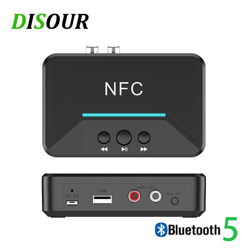 DISOUR 5.0 Bluetooth Receiver Smart NFC A2DP RCA AUX 3.5MM Jack Wireless Adapter Suppotr USB Play For CAR Home Speaker Headphone