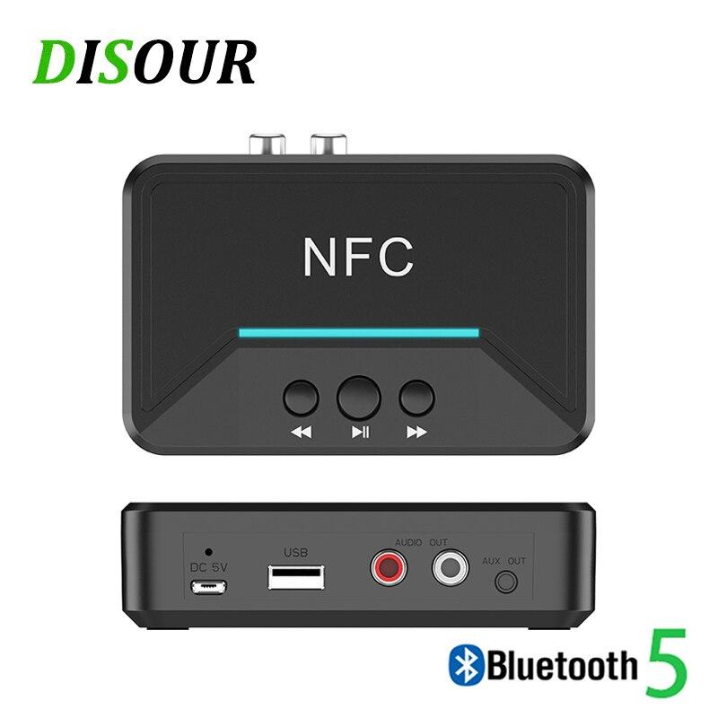 Disour 5.0 receptor bluetooth inteligente nfc a2dp rca aux 3.5mm jack adaptador sem fio suppotr jogo usb para o carro casa alto-falante fone de ouvido