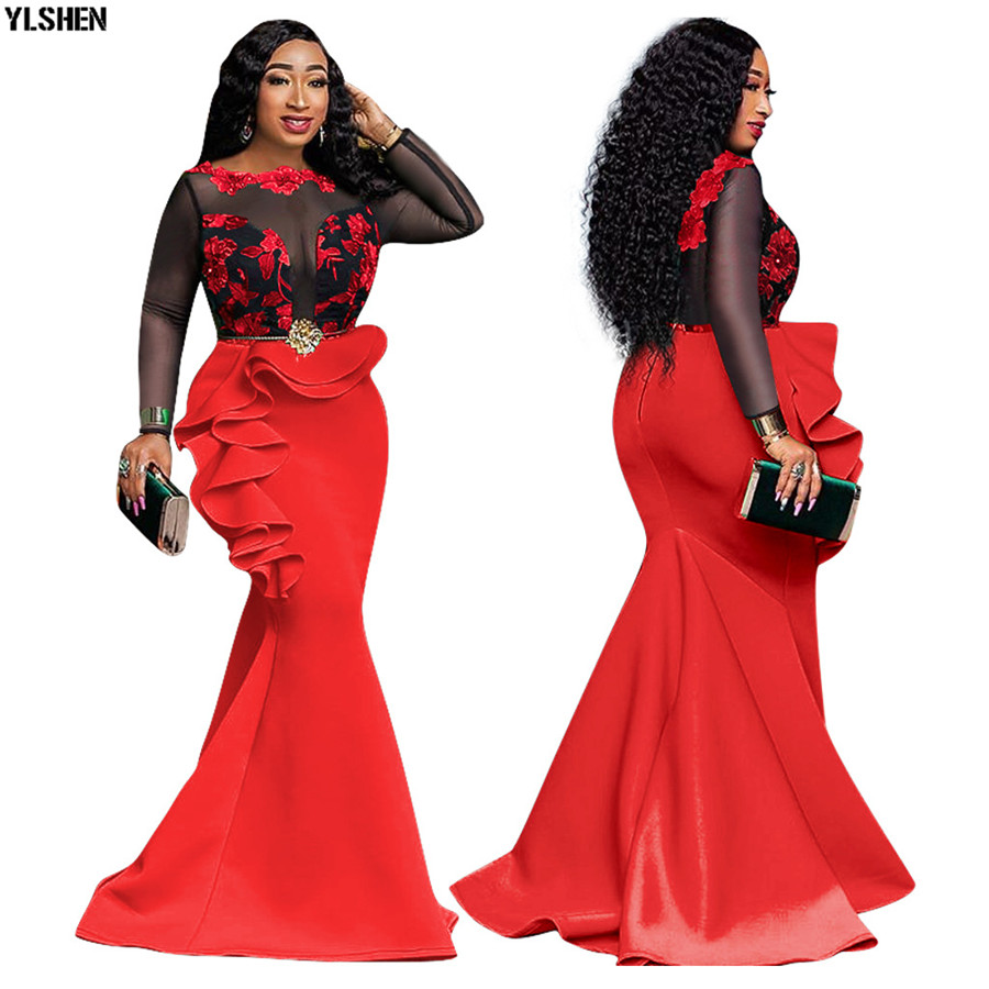 New African Dress Ladies Plus Size Bodycon Party Mermaid Sexy Mesh Ruffles Wedding Evening Long Print African Dresses For Women