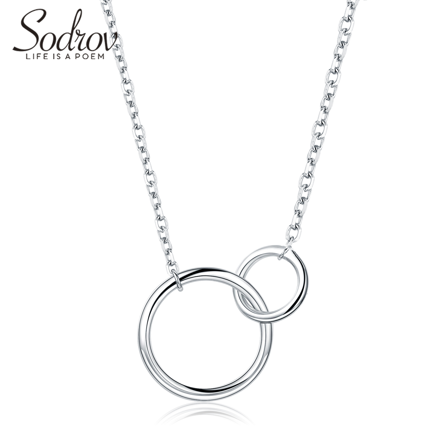 Sodrov Necklace Chain Jewelry Sterling Silver Elegant Fashion Ladies Link Women Round Fine Party(China)