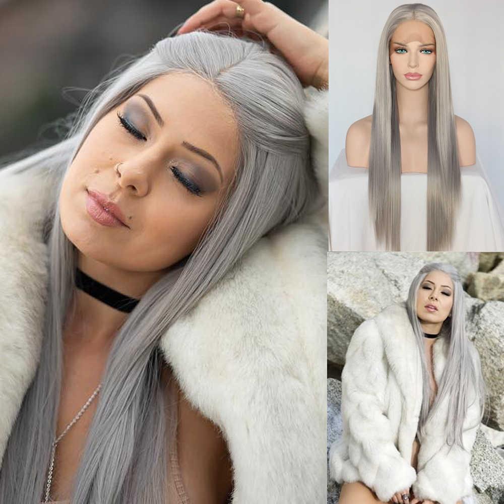 Lvcheryl srebrno-szary kolor syntetyczna koronka przodu peruki ręcznie wiązane peruki naturalny długi jedwabisty prosto żaroodporne włosy