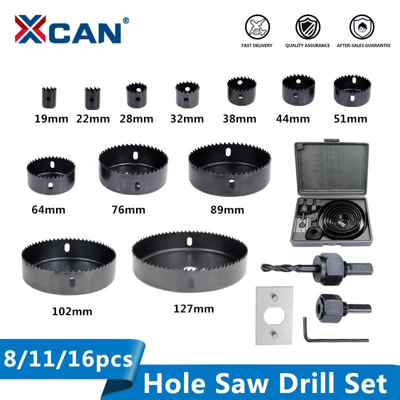 XCAN Wood Drill Bit Set 8/11/16pcs Hole Saw Drill Cutter Carbon Steel Wood Core Drill Bit