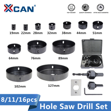 XCAN Wood Drill Bit Set 8/11/16pcs Hole Saw Drill Cutter Carbon Steel Wood Core Drill bit цена и фото