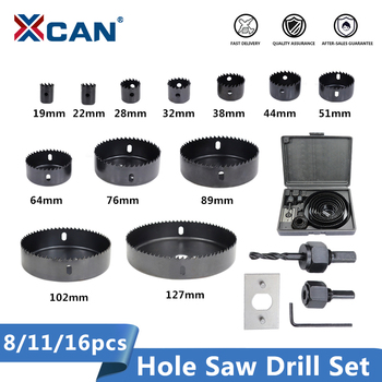 цена на XCAN Wood Drill Bit Set 8/11/16pcs Hole Saw Drill Cutter Carbon Steel Wood Core Drill bit