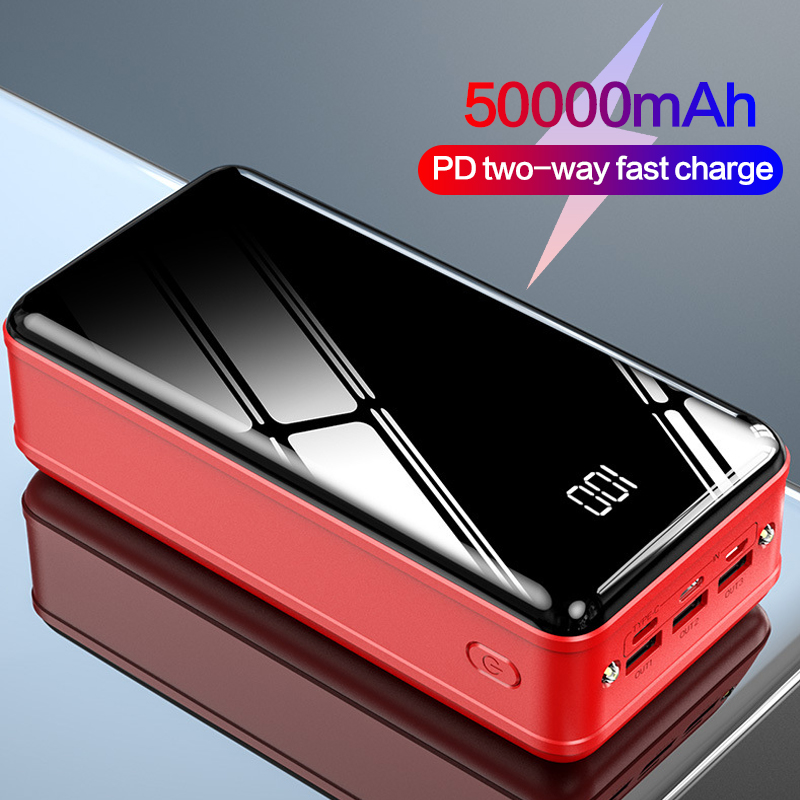 50000 MAh Power Bank 18W USB Type C PD Two-way Fast Charging Powerbank Portable Charger External Battery Pack For Xiaomi Iphone