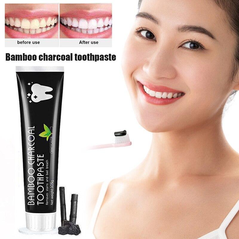 Высокое качество бамбуковый уголь зубная паста отбеливание зубов черный удаляет пятна уход за зубами