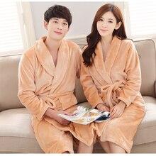 Коралловый флисовый мужской и wo мужской Халат-кимоно, Повседневная фланелевая одежда для сна, зимний теплый длинный халат, домашняя одежда