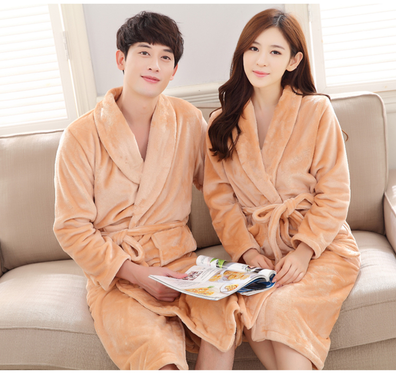 Coral Fleece Men&women Kimono Bathrobe Gown Casual Flannel Sleepwear Winter Warm Long Robe Dressing Gown Home Clothing