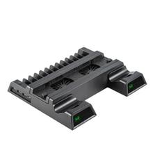 Вертикальный охлаждающий вентилятор с подставкой, совместимый с PS4 Pro/Slim, светодиодный док-станция для зарядки контроллера с 12 играми для хранения, 3 USB порта