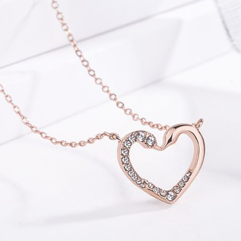 Fashion Novel Swam Heart Desgin Necklace Rose Gold Plated Chokers Necklace with Shiny Rhinestone for Women Jewelry Gift XL159 image