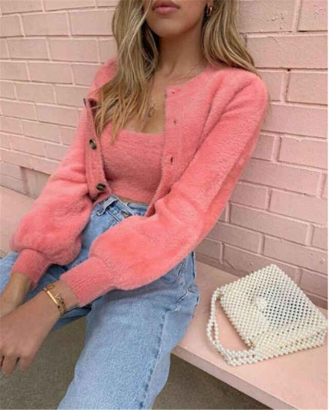 2pcs 여성 캐주얼 패션 부드러운 플러시 양 털 코트 단색 긴 소매 자 켓 겨울 따뜻한 스웨터 단추 outwear 핑크 그린