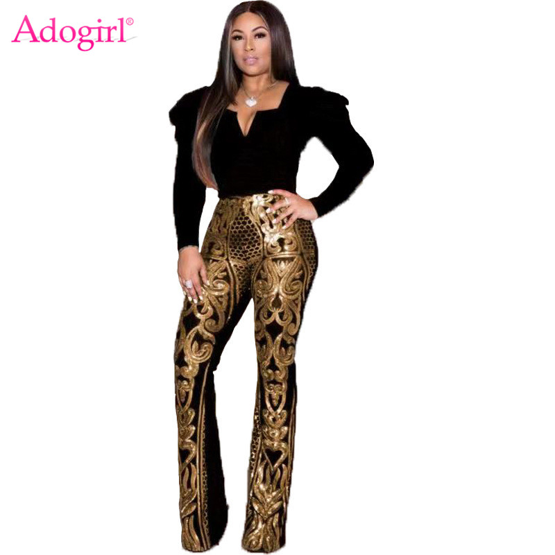Adogirl Floral Sequins Women Flare Pants High Waist Fashion Sexy Foot Cut Trousers Night Club Outfits 2019 Christmas Uniform