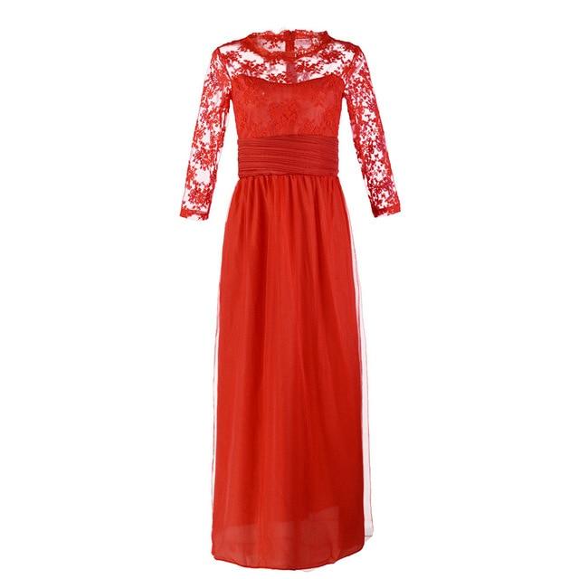 BacklakeGirls 2019 Autumn Elegant Round Neck Long Sleeve A-line Chiffon Evening Dress Green Red Lace Evening Gowns Feest Jurken 4