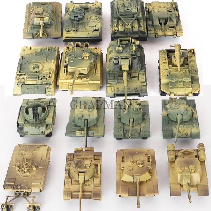 1/72 en plastique assemblé réservoir modèle Kit WWII modèle militaire Puzzles 24 Styles réservoirs Table de sable réservoirs jouets pour garçons