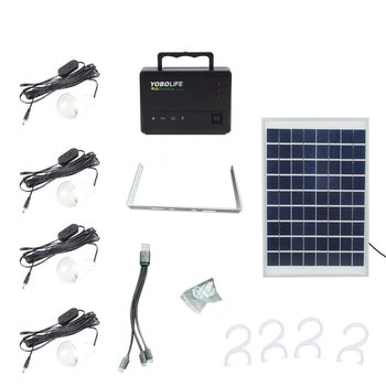 Portable Solar Panel Power Storage Generator LED Light 4 USB Charger Home System