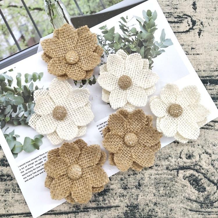 1 pçs feito à mão natural juta serapilheira hessian flor diy artesanato suprimentos vintage favor rústico decoração de casamento peças centrais