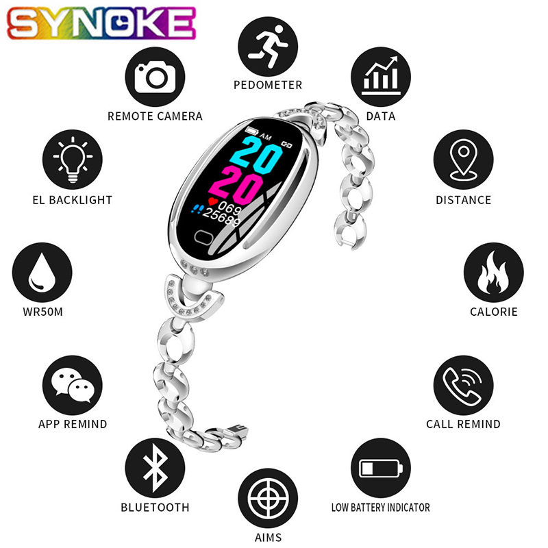 SYNOKE New Arrival Simple Women Smart Watches Fashion LED Display Message Reminder Alarm Heart Rate Monitor Sports Men's Watch