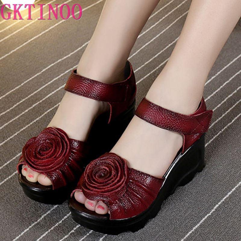 GKTINOO 2020 Style ethnique en cuir véritable femmes chaussures sandales sandales à talons compensés à la main en cuir véritable plate-forme femmes sandale