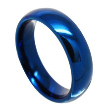 Customized 6MM/8MM Blue Color Tungsten Rings for Couples Wedding High Polished Dome Band