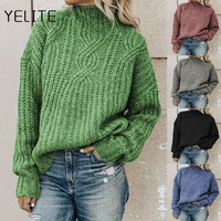 YELITE Autumn and Winter Women's Casual High-necked Knit Tops Long sleeve Printed Round Neck Ladies Blouses Sweater Topa
