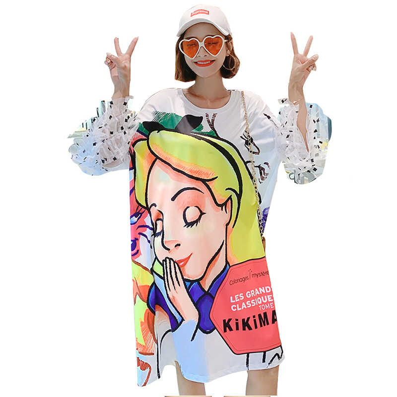 QING MO Women White Petal Sleeve Dress Women Individuality Cartoon Printing Dress Lady Knee-Length Summer Dress ZQY125