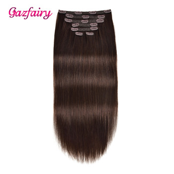 Gazfairy Clip in Human Hair Extensions 16'' 7pcs 120g 16 Clips Full Head Straight Remy Hair Double Weft Natural Color For White