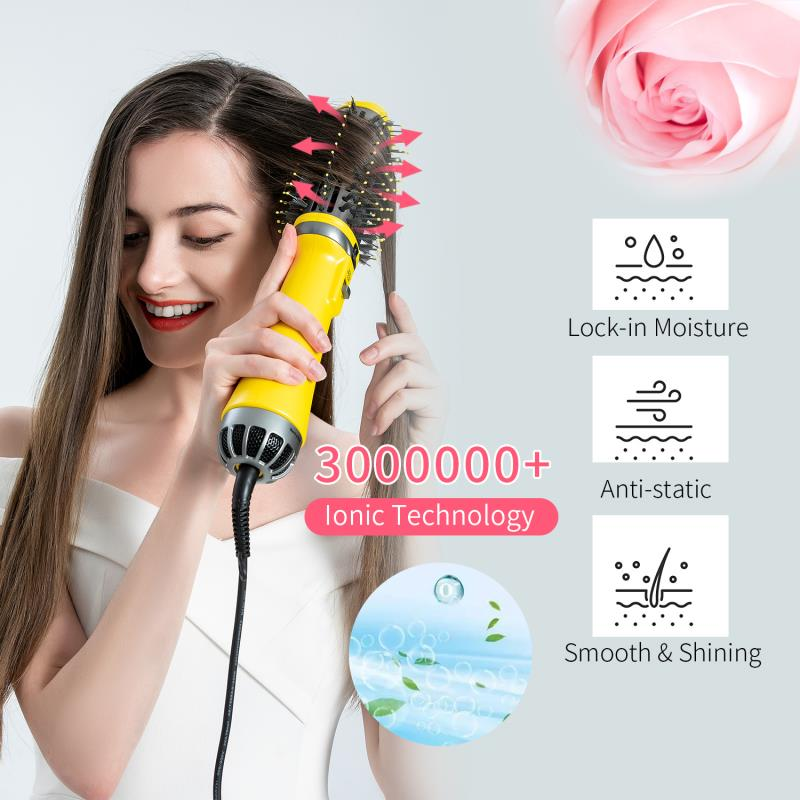 New 3th One Step Hair Dryer Hot Air Brush Professional Blow Dryer Comb Curling Iron Hair Straightener Brush Hair Styling Tool