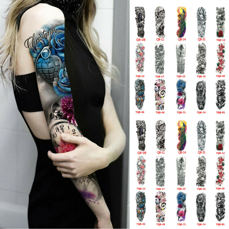 Personality Waterproof Full Arm Temporary Tattoo Stickers Fake Tattoo Sleeve Tattoos For Men Women image