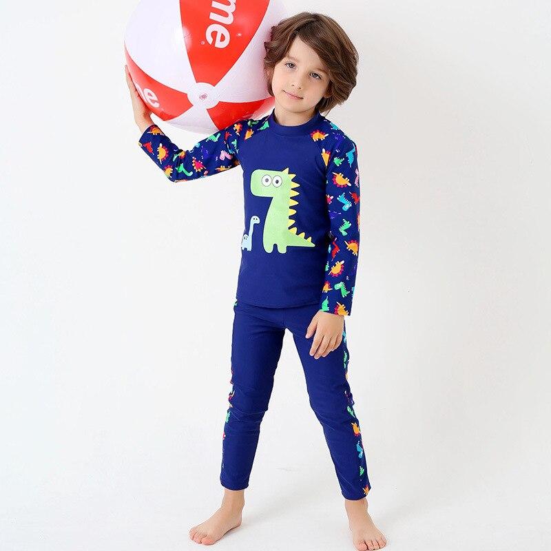 BOY'S Sun-resistant Bathing Suit Children Baby Long Sleeve Trousers Split Type Tour Bathing Suit Dinosaur Young STUDENT'S Quick-