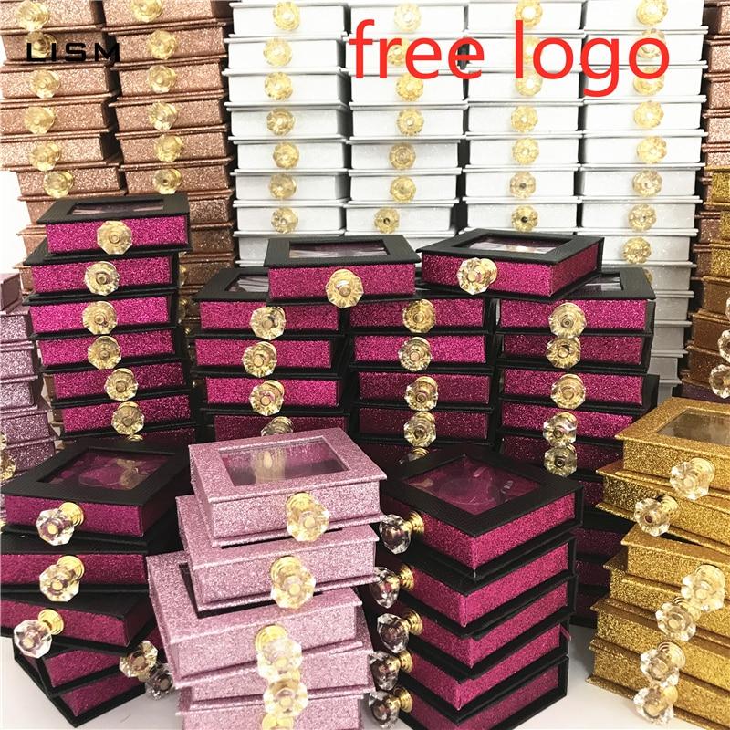 Wholesales Crystal Handle NEW 25mm False Eyelashes Packaging Box Lash Boxes Custom Your Logo Fake 3d Mink Lashes Glitter Case