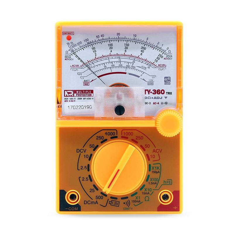 TY-360 DC / AC 1000 V Voltímetro 500mA Amperímetro 1K Medidor de Resistência Multímetro Analógico Ferramenta