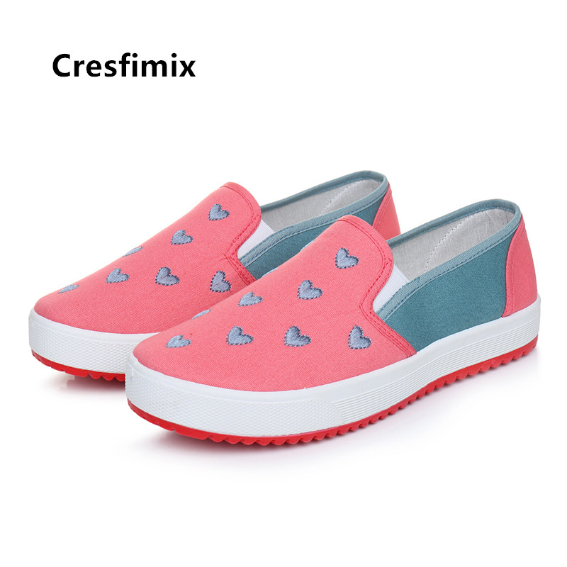 Cresfimix Women Fashion Heart Print Cloth Shoes Lady Casual Spring And Summer Slip On Loafers Female Comfortable Street Shoes