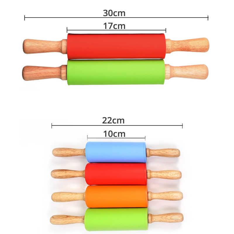 Silicone di Rolling pins, a mano in legno di pin di rotolamento per la torta, deegroller, fondente rullo, rullo di pasta, pasticceria outils accessori
