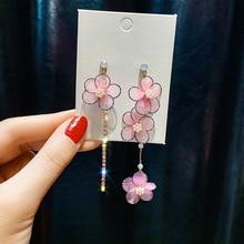 the new brand design hand-made petals asymmetric tassel earrings generous minimalist Korean for women