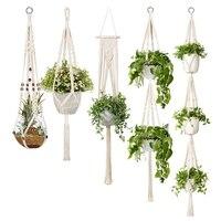 5-pack macrame planta cabides, diferentes camadas, corda de algodão artesanal pendurado plantadores conjunto vasos de flores suporte, para interior ou
