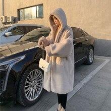 Winter Coat Jacket Hooded Warm Plush Fashion Women Thick Solid Fur Long Loose