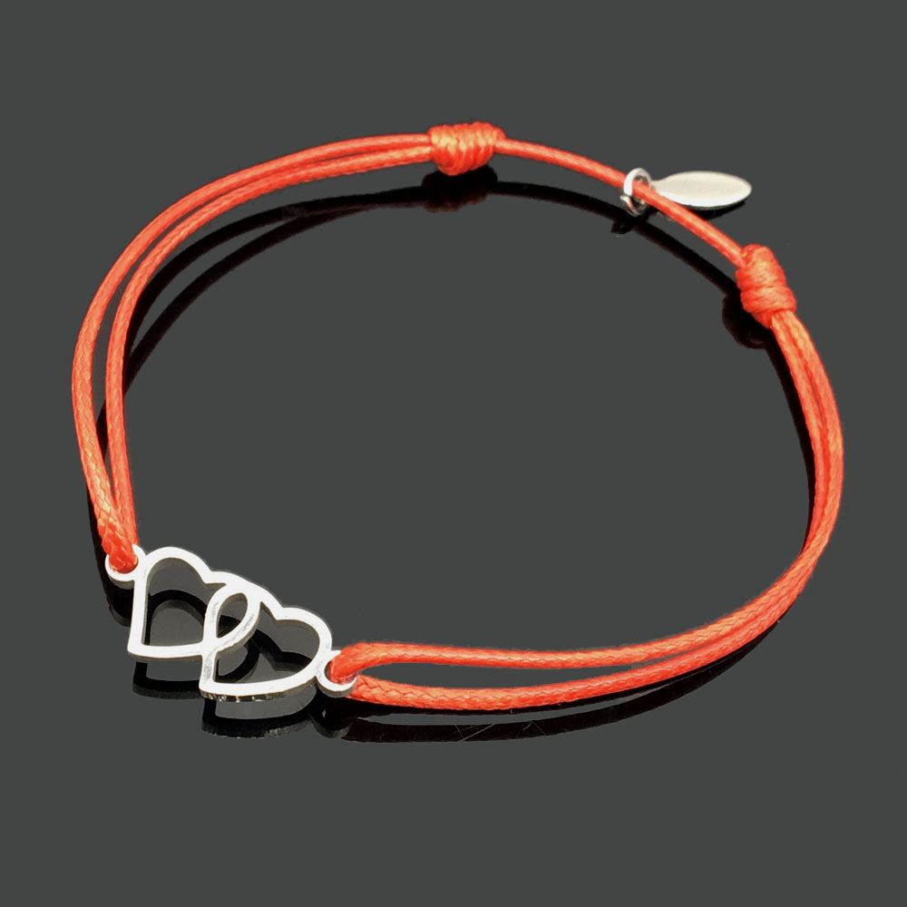 2 шт браслет желаний из нержавеющей стали, регулируемый шнур, хороший браслет, приносящий удачу, красный браслет дружбы - Окраска металла: stainless two love