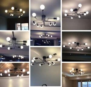 Image 5 - Moderne LED Decke Kronleuchter Mehrere Stange Schmiedeeisen Loft E27 Nordic Decke Kronleuchter Für Wohnzimmer Schlafzimmer Licht glanz