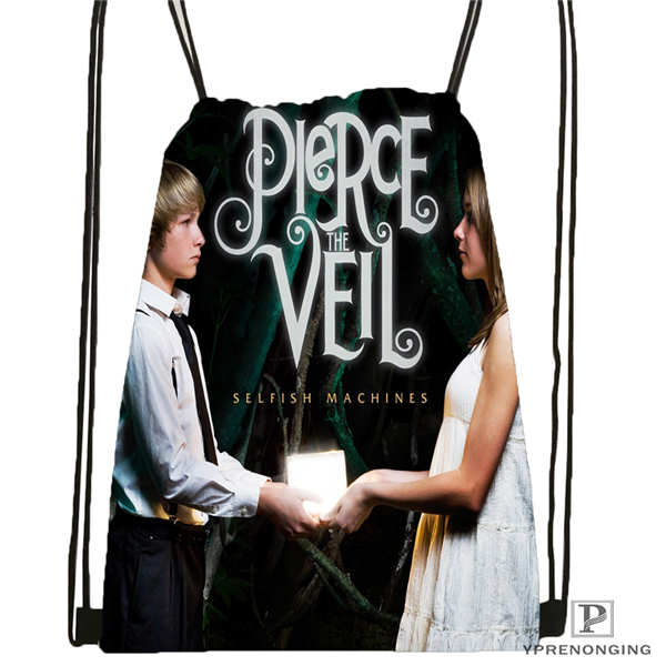 Custom Pierce-The-Veil Drawstring Backpack Bag Cute Daypack Kids Satchel (Black Back) 31x40cm#180611-03-104