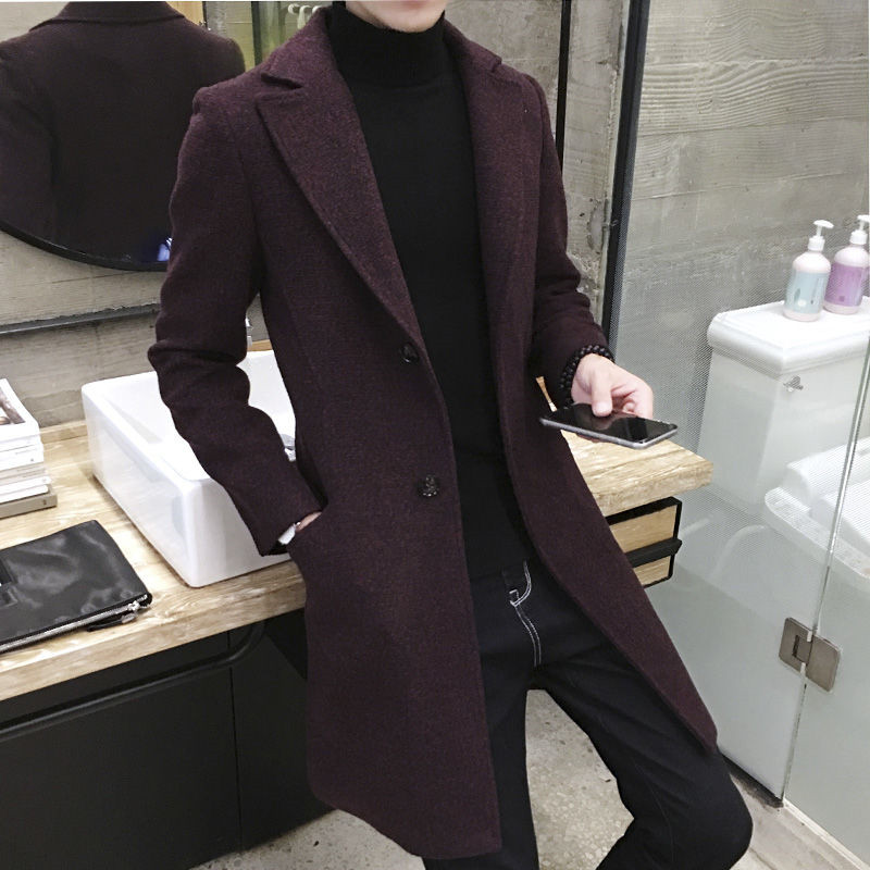 Windbreaker men's medium and long winter handsome 2019 new men's wool coat Korean version versatile cloth coat send scarf