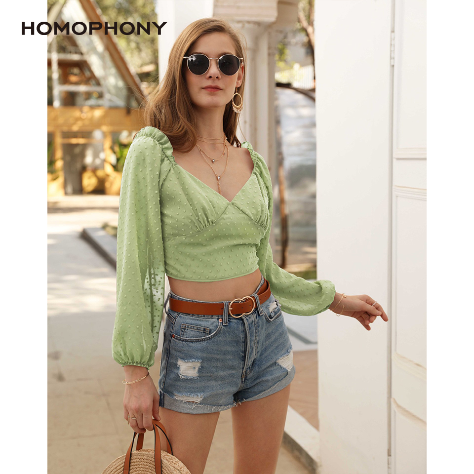 Homophony Women Chiffon Jacquard Lantern Sleeve Sweet Tops V Neck Street Style Spring And Summer Casual Sexy Short Tops