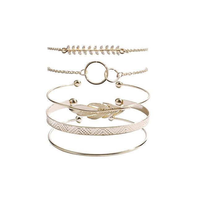 5Pcs/set Bohemian Gold color Moon Leaf Crystal Opal Open Bracelet Set for Women Punk Boho Beach Bangle Jewelry Gift 2