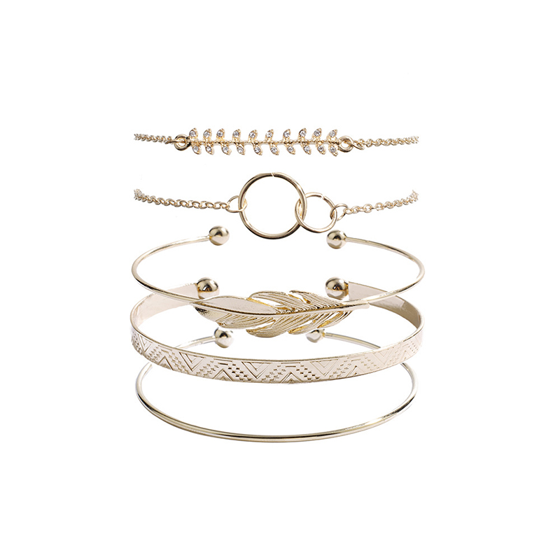 Bohemian Moon Leaf Gold Bracelet Set for Women Kito City Jewelry