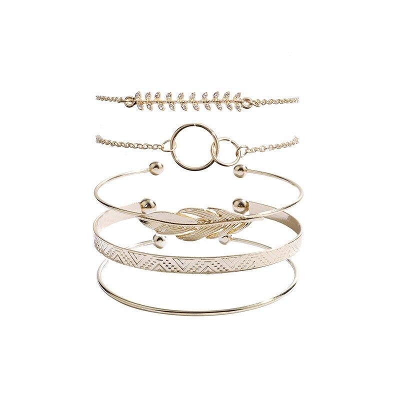 Modyle 5Pcs/set Bohemian Gold color Moon Leaf Crystal Opal Open Bracelet Set for Women Punk Boho Beach Bangle Jewelry Gift 1