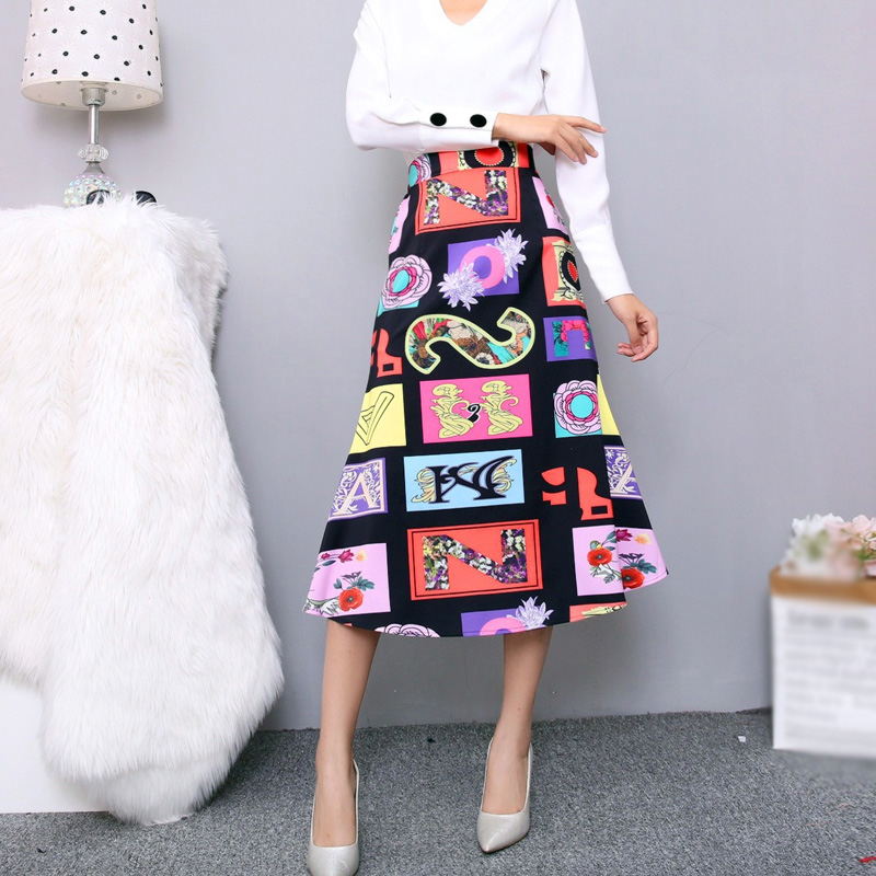 Long Denim Skirt with Lace Skirt Patchwork Design Plus Size