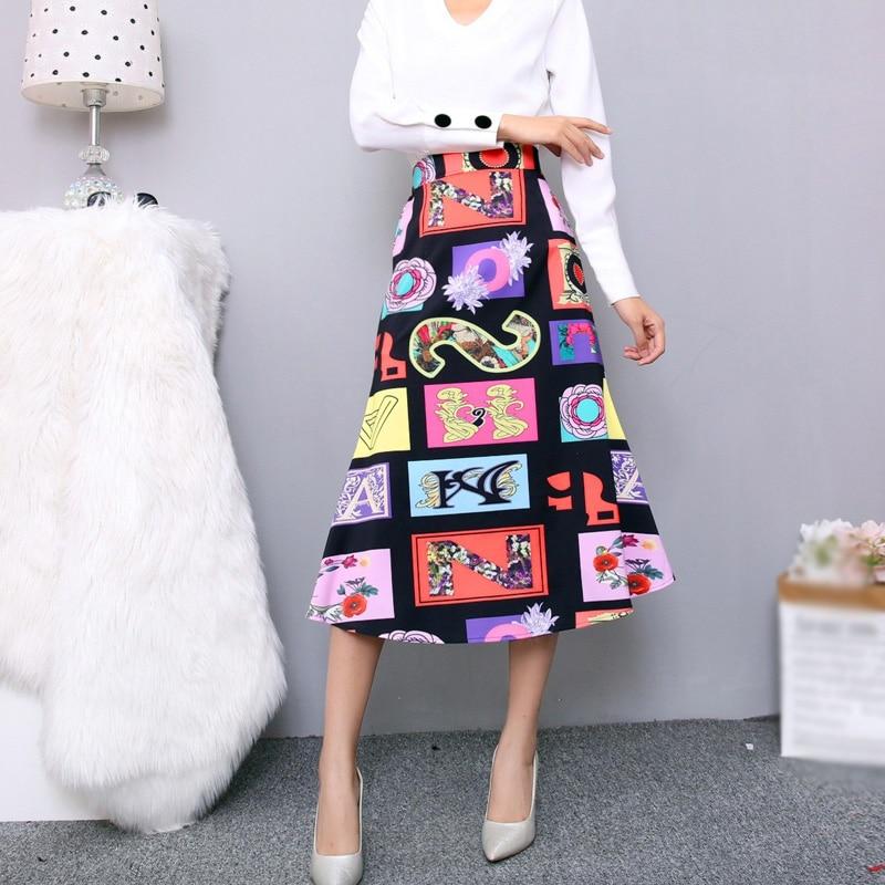 Summer Skirts Women 2019 High Waisted Long Skirt Vintage Sunflower Printed Maxi Skirt Plus Size 2XL