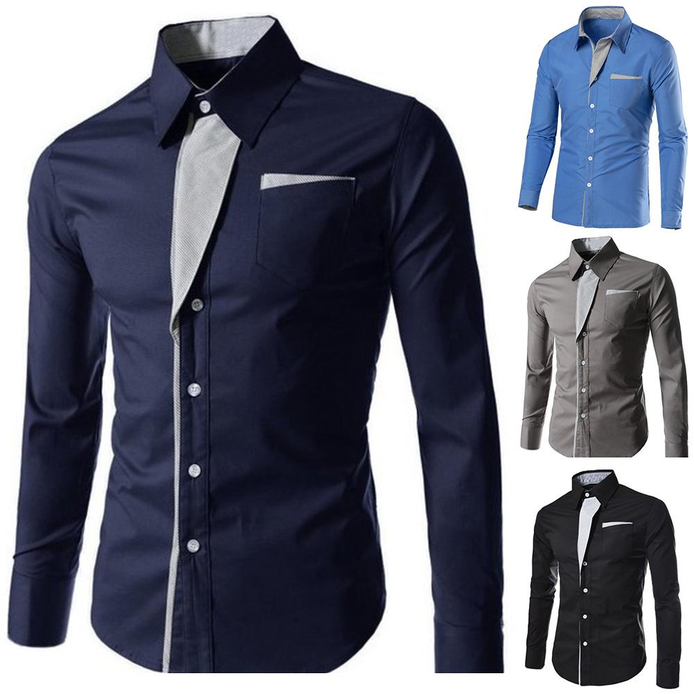 Men Shirts Asia Size New Arrivals Slim Male Shirt Solid Turn down Collar Long Sleeve British