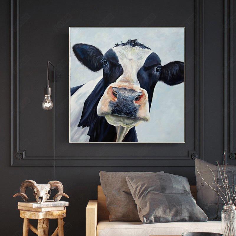 4 11 45 De Réduction Affiche Toile Peinture Nordique Noir Et Blanc Vaches Peinture à L Huile Mur Art Photos Pour Enfants Salon Cuadros Décor à La